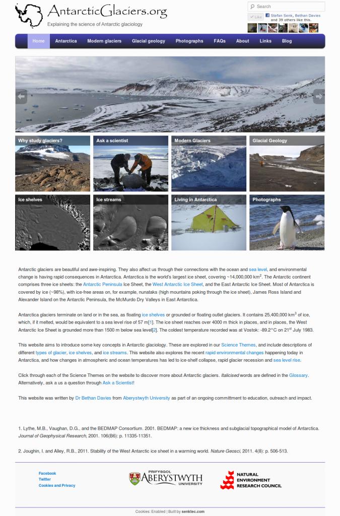 AntarcticGlaciers.org screenshot