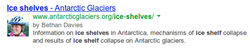 Google search result showing author for AntarcticGlaciers.org