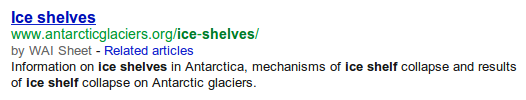 Google search result showing WAI Sheet for AntarcticGlaciers.org