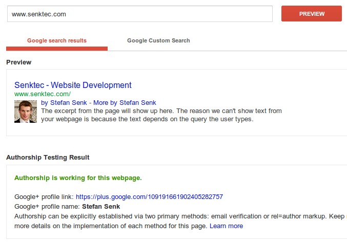 Author result in Google's structured data testing tool