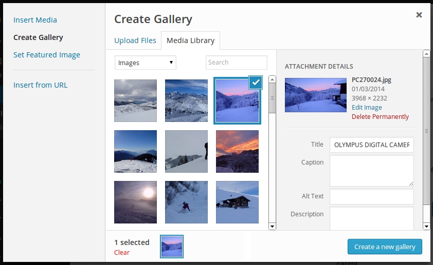 Inserting a gallery in WordPress