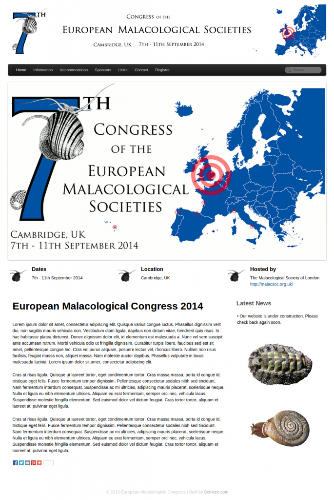 European Malacological Congress 2014 — Screenshot.